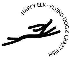 Happy elk, flying dog and crazy fish